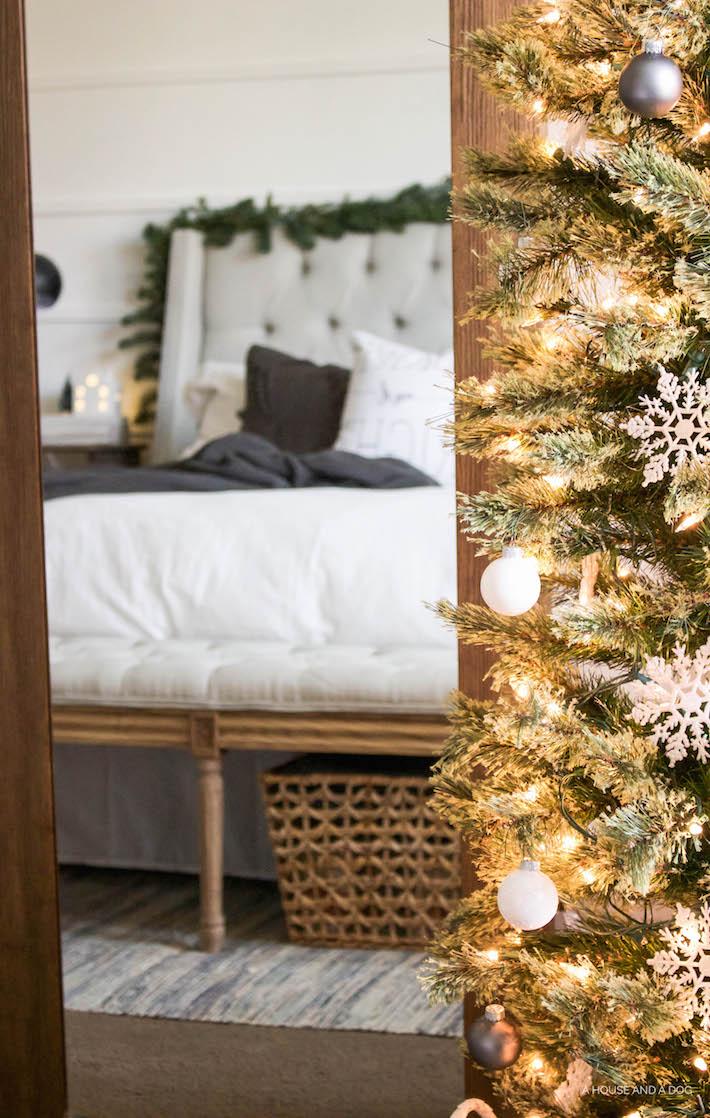 Simple White & Gray Christmas Bedroom 2016   helloallisonblog.com