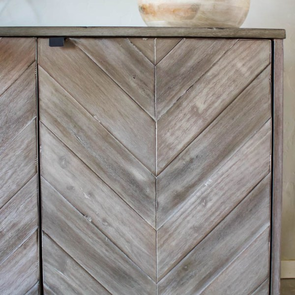 Chevron Media Cabinet | Living Room Makeover | ahouseandadog.com