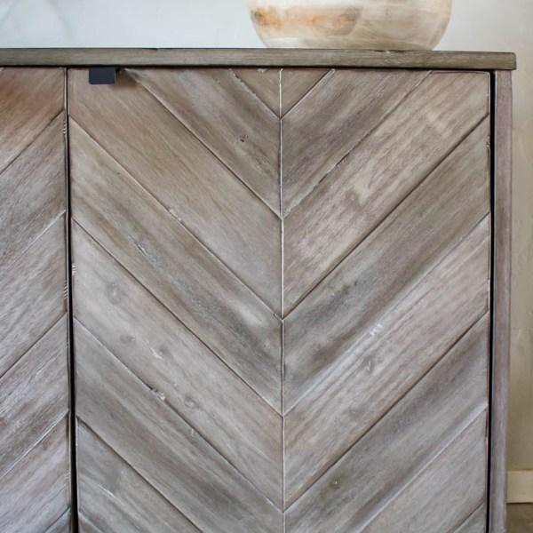 Chevron Media Cabinet | Living Room Makeover | helloallisonblog.com