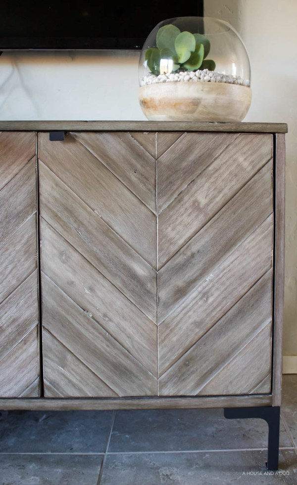 Chevron Media Cabinet | Living Room Makeover | helloallisonblog.com