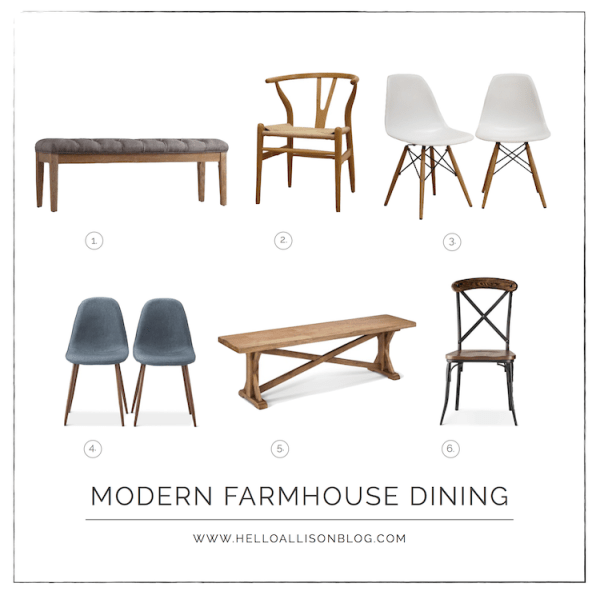 Modern Farmhouse Dining Chairs & Benches | helloallisonblog.com