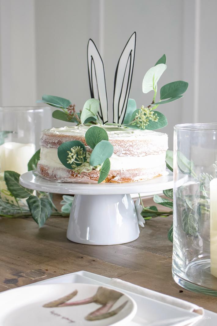 Easter tablescape + simple naked cake with bunny ears!   helloallisonblog.com