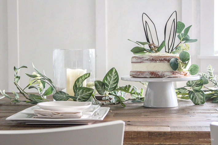 Easter tablescape + simple naked cake with bunny ears! | helloallisonblog.com