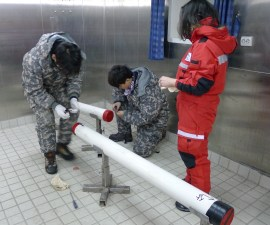 Since we are not sampling the cores, we have to store them in a refrigerator, and therefore we must make sure the core liners are securely capped on the ends