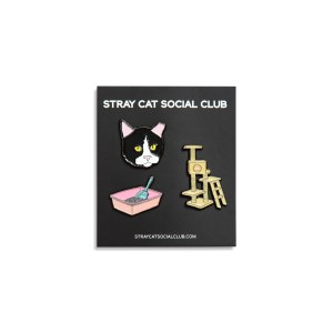 Pin set featuring tuxedo cat