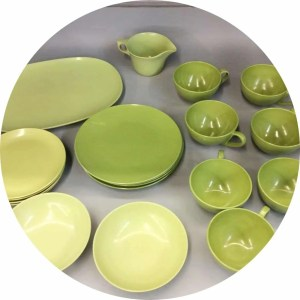Avocado green melamine dishes