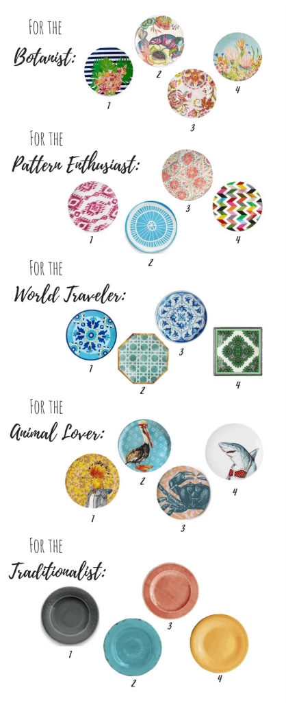 affordable melamine plates (floral, patterned, animals, and solid)