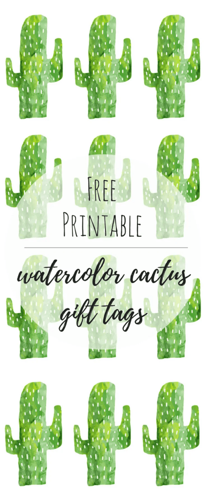 Free Printable Watercolor Cactus Gift Tags