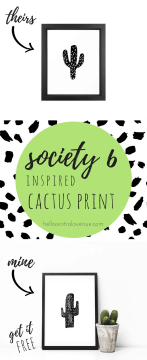 FREE Society 6 Inspired Cactus Print