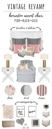 Vintage Revamp-pink, black, gold bedroom design