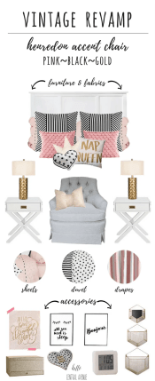 Vintage Revamp-pink, black, gold bedroom design