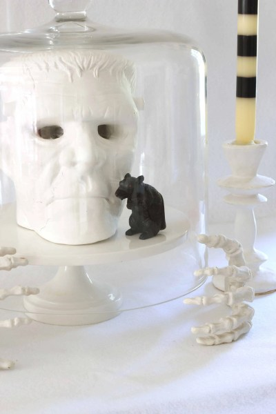 Cheap Halloween Decorations-Frankenstein head, rat, black and white candles, cake stand, skeleton hands