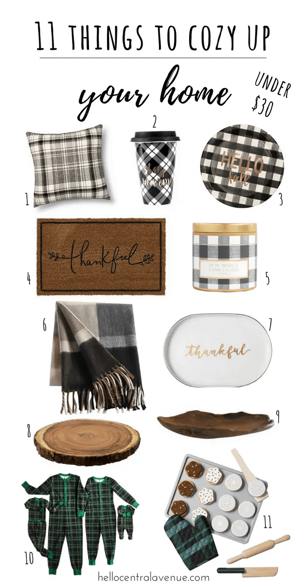 things to cozy up your home-plaid, brass, wood