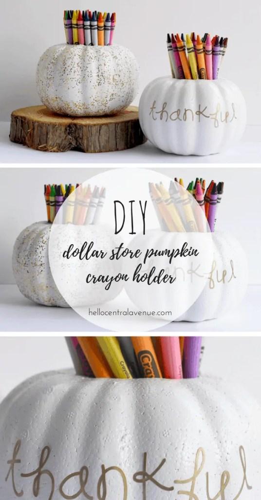 DIY-Dollar Store Pumpkin Crayon Holder