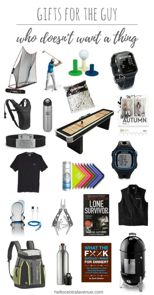 gifts for the guy who doesn't want a thing-golf gifts, running gifts, cooking gifts, books, games, clothing