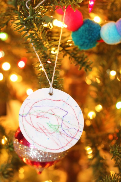 Kids shrunken artwork gift tags turned ornaments