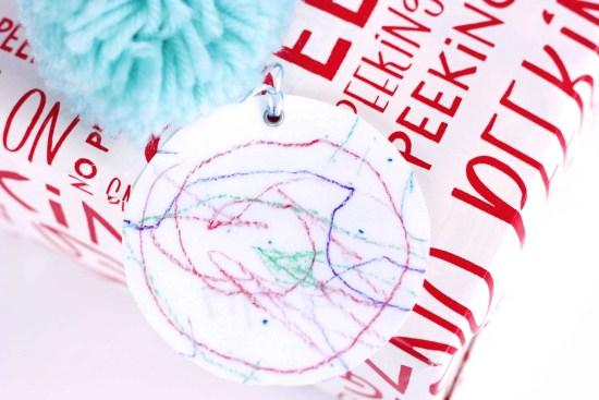 Kids shrunken artwork gift tags turned ornaments