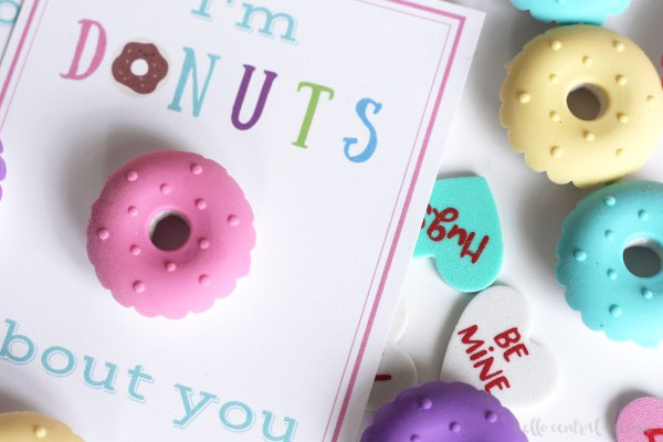 """Free printable """"I'm Donuts About You"""" valentines. Mini donut erasers and pencils make these valentines super cute."""
