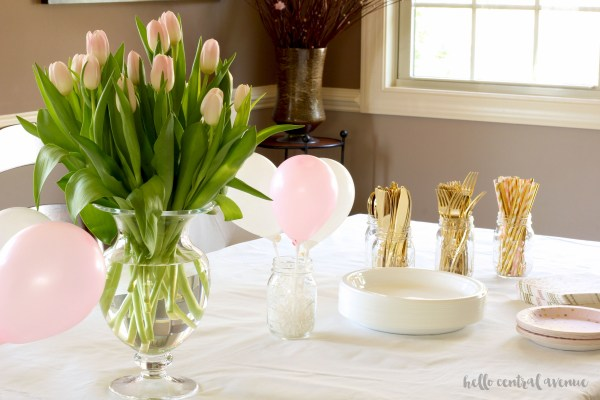 first communion party ideas pink white gold decorations hello