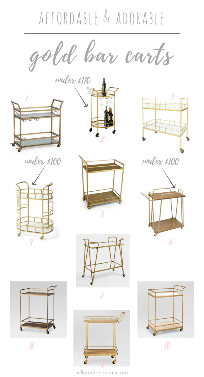 Affordable and adorable gold bar carts for your home. These gold bar carts make the perfect place to store all of your beverages.