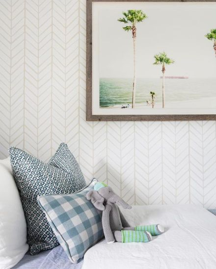 $100 Room Challenge inspiration! This Serena and lily wallpaper in any powder room would wow!