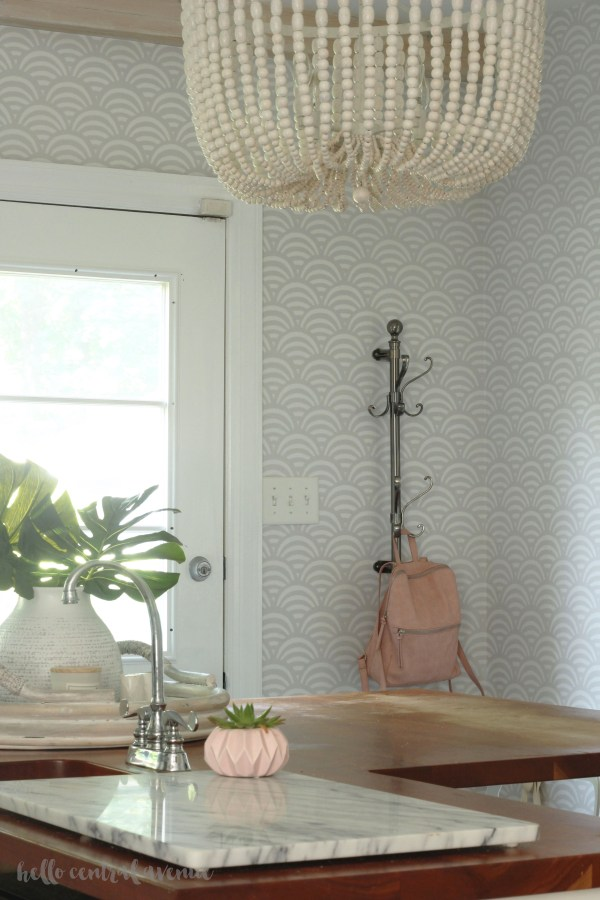 Serena & Lily Lamu wallpaper in bone was a game changer in my kitchen! It brightened the space and made the room seem so much bigger!