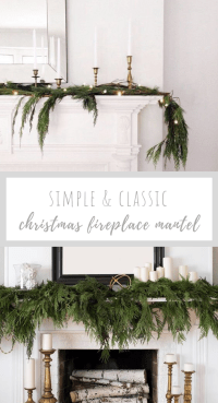 If you are looking for a simple and classic Christmas fireplace this year, take a look at these gorgeous mantels! They capture the Christmas spirit and create a wintery vibe using natural elements like garlands and colors like white and gold!