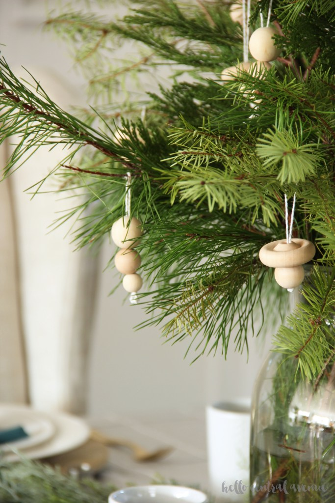 Here is a Christmas tablescape that is full of inexpensive and free decor!