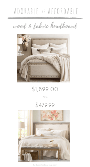 These stunning wood and fabric headboards with nailhead details are difficult to tell apart! However, their prices are not! With a savings of over $1,400, you can achieve the same high-end look for WAY less money!