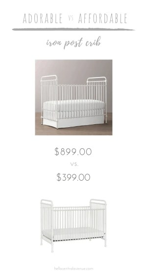 Our iron post crib has gone through two nurseries in the blink of an eye! I wish I had found this stunning Restoration Hardware iron post crib knock-off when I was pregnant with my son! This budget friendly crib can combine with any style to create an adorable nursery!