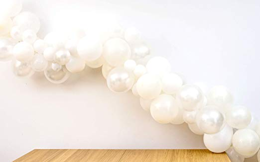 TOKYO SATURDAY 16 feet White Balloon Party Garland Arch Decoration Kit, 120 Balloons and Tools,...