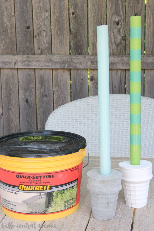 Cement candle holders using Quikrete fast-setting cement is a great first DIY cement craft! cement candle holders | cement projects | cement crafts | quikrete cement | cement patio ideas