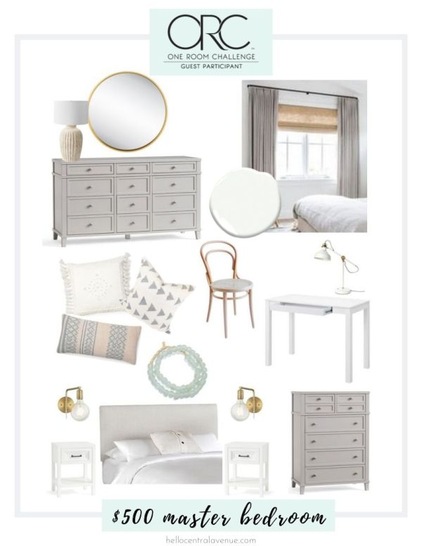 One Room Challenge $500 master bedroom makeover mood board. A coastal style is created through natural wood tones, whites, grays, and brass!