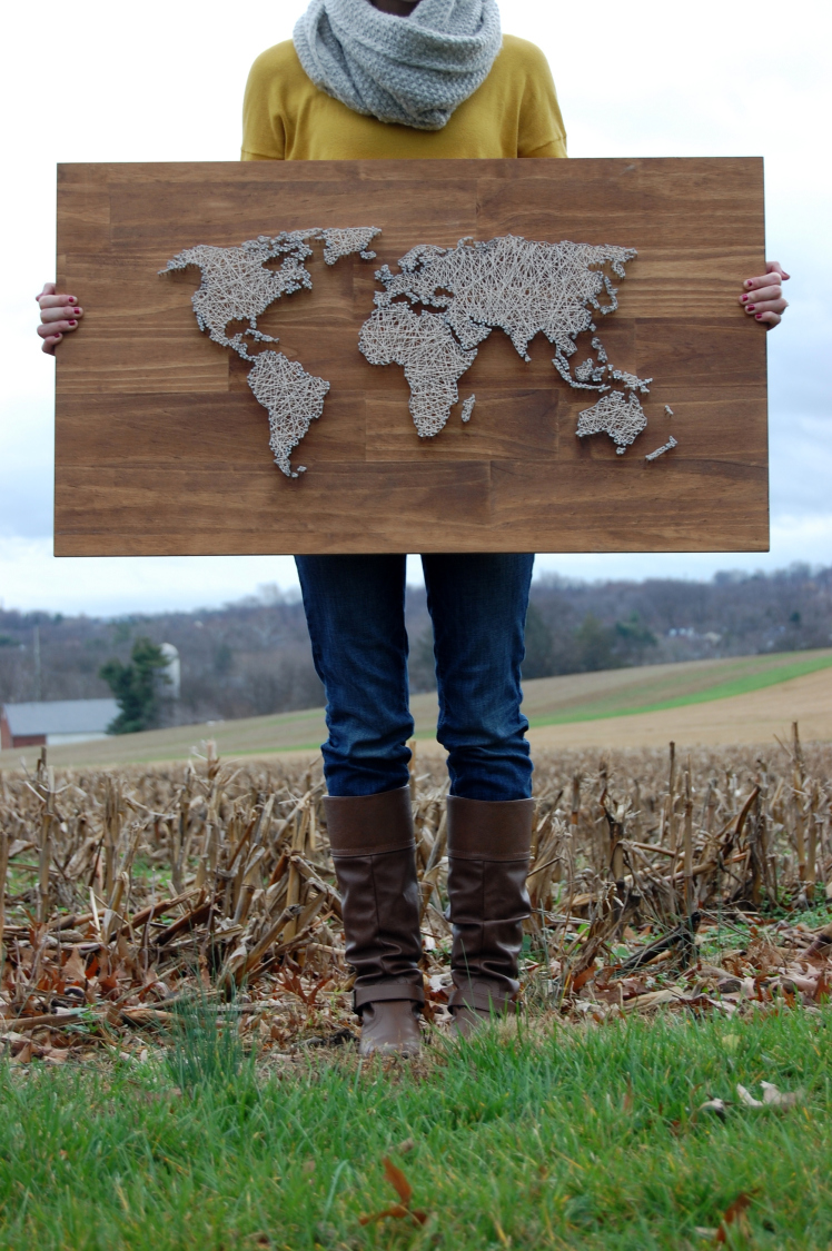 27 Diy String Art Projects World Map From The Coffee Cafe