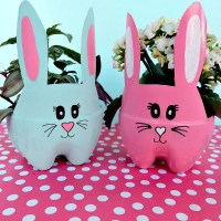 DIY Easter Bunny Planters Made From Upcycled Pop Bottles