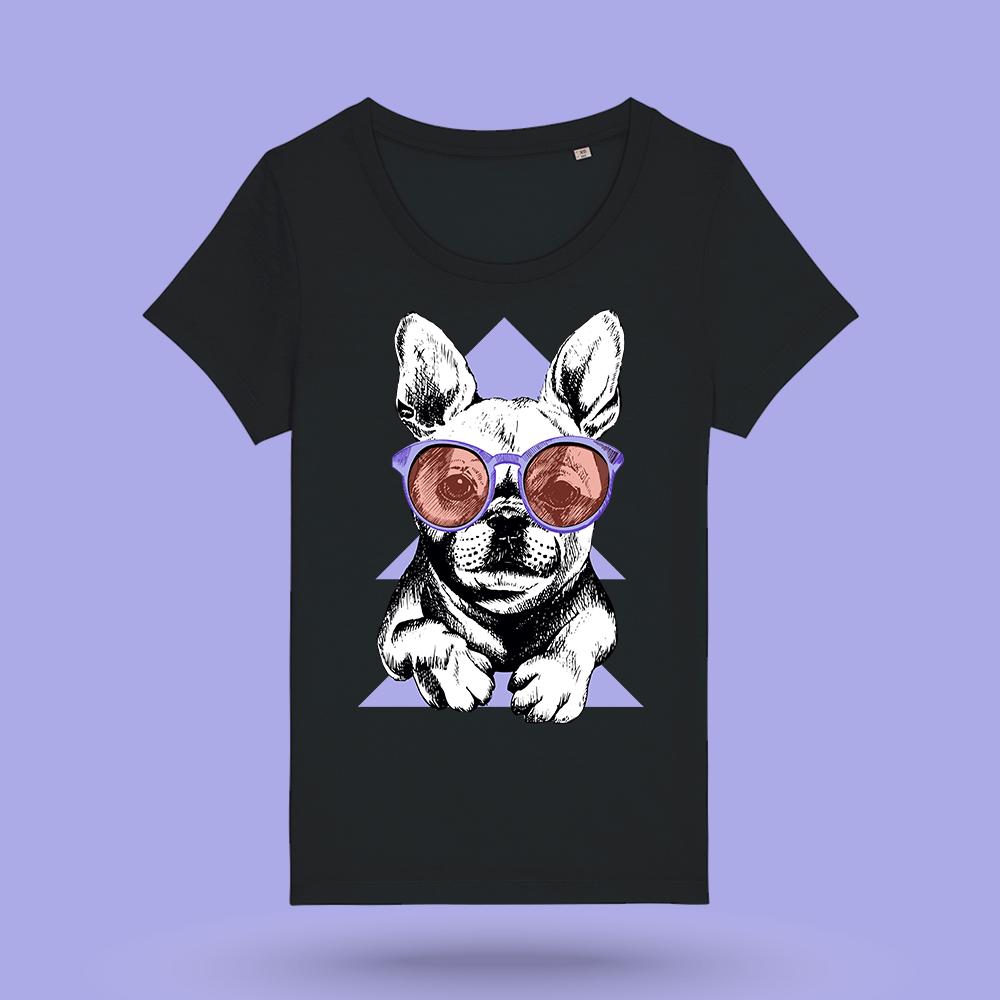 """Tricou negru femei - """"Purple bulldog"""""""