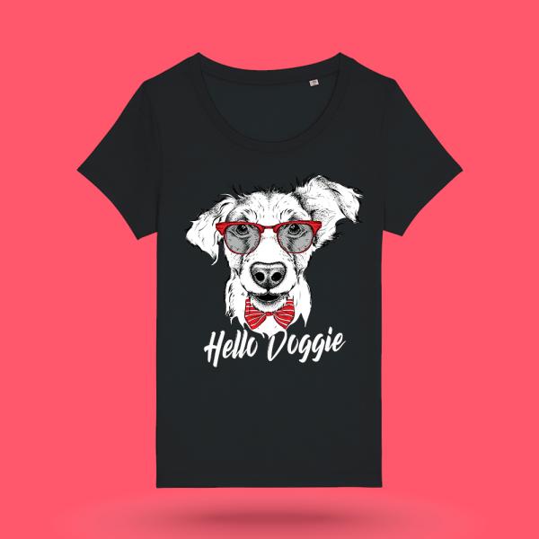 """Tricou negru femei - """"Hello Doggie"""""""