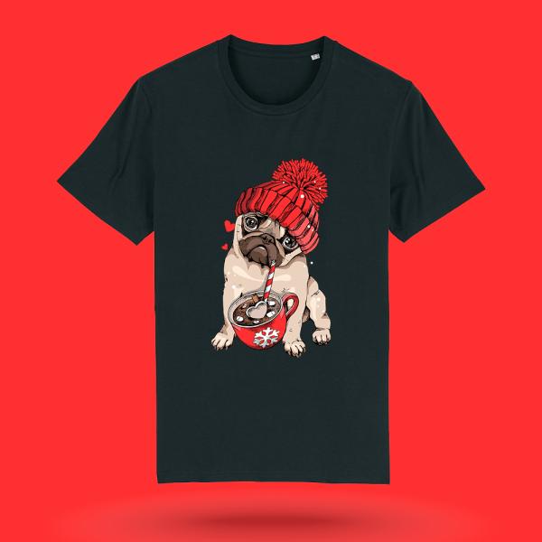 Tricou-personalizat-negru-barbati-Craciun-tricou de craciun-Pug-Cafea