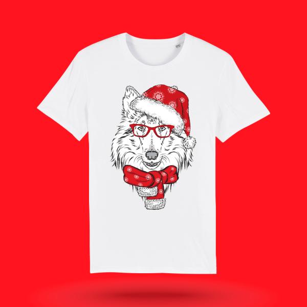 Tricou-personalizat-alb-barbati-Craciun-tricou de craciun-Mos Craciun - Rough Collie