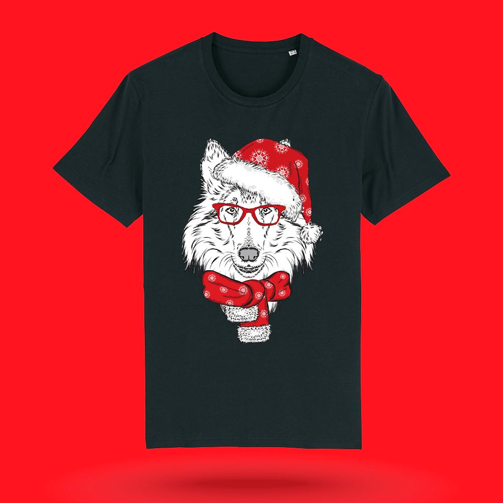 Tricou-personalizat-negru-barbati-Craciun-tricou de craciun-Mos Craciun - Rough Collie