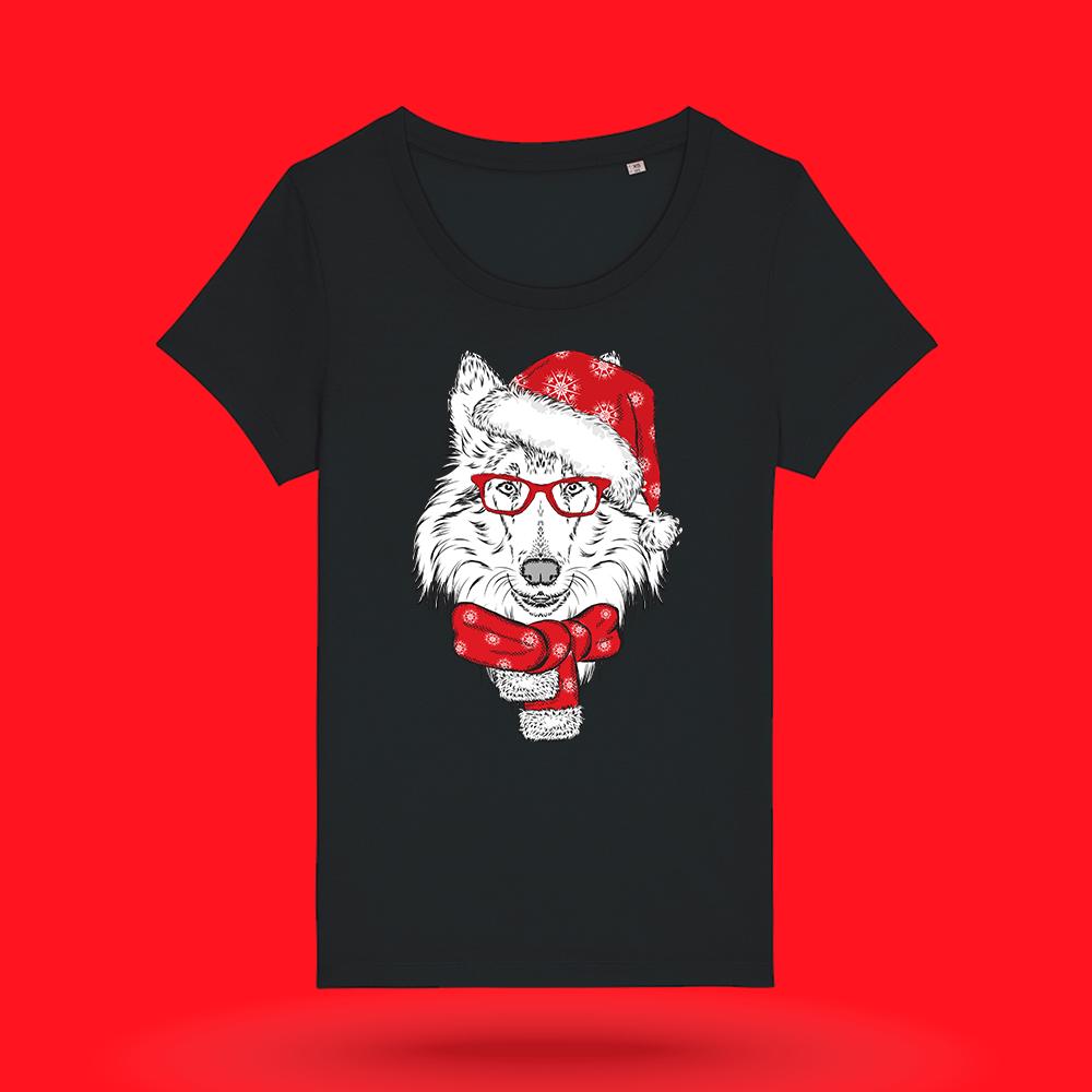 Tricou-personalizat-negru-femei-Craciun-tricou de craciun-Mos Craciun - Rough Collie
