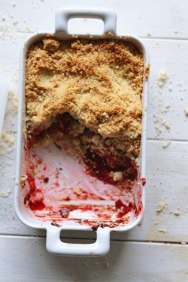 Beetroot, raspberry & chocolate crumble