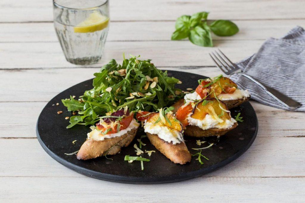 peach recipes-national-peach-month-tartines-HelloFresh