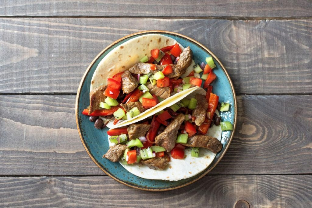 healthy bean recipes-HelloFresh-steak-fajitas