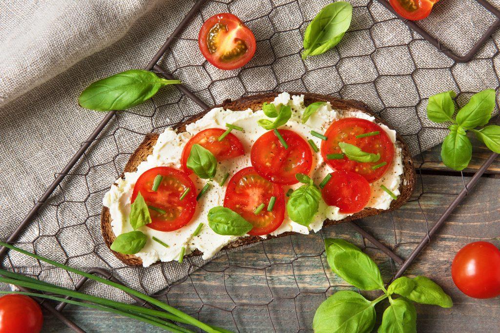 toast toppings-cream-cheese-tomato-basil-HelloFresh