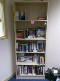 Kirsty and I reorganised the radio's book shelf we need more donations pelase :D