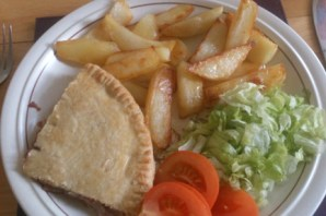 homemade cornbeef pie and chips