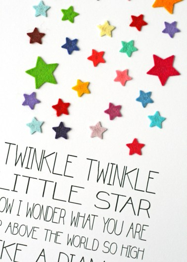 Hello Geronimo Twinkle Little Star Nursery Rhyme Print detail