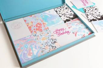 Jot marble, granite and neon card selection box