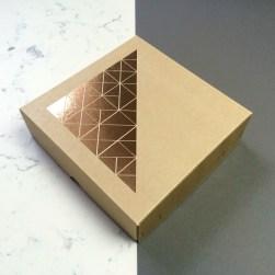Velvet Olive geometric foiled gift box